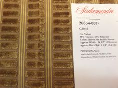 PRODUCT TYPE :  FABRIC  MANUFACTURER: Scalamandre  PATTERN: 26854 - 006, 007, 008  NAME:Genie #Cut Velvet  COLOR:                  006 - Gold On #Beige - 2 PIECES ... #fabric #supplies #scalamandre #viscose #genie #cut #velvet #coral #red #brown #beige #luxury