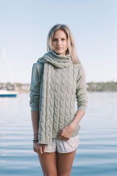 'Cable Scarf' made in Australia from 100% merino wool by Jude Australia Knitwear. Available from: http://www.judeaustralia.com/product/cable-scarf-sea-mist/ #wool #merino #AustralianMade #JudeAustralia #winter #scarf #cable