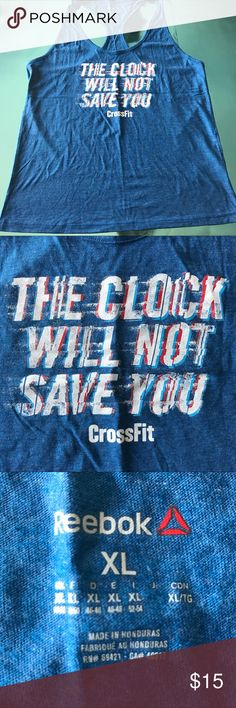 "CrossFit Muscle Tank, Reebok XL (Never Worn) CrossFit muscle tank with graphic ""The Clock Will Not Save You"", size XL (never worn) Reebok Tops Tank Tops"