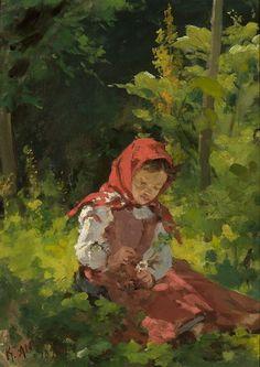 Kazimierz Alchimowicz (1840-1916): 'Dziewczynka w lesie' / 'Girl in the Woods', 1893