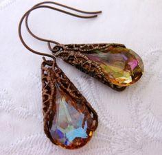 Brandys Swarovski Crystal Tear Drop Chocolate Patina Wrap Earrings | Vivian-Feiler-Designs - Jewelry on ArtFire