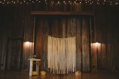 A great idea for an affordable and simple wedding alter- ribbon backdrop.