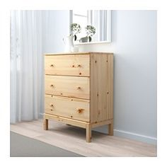 Of course your home should be a safe place for the entire family. That's why hardware is included so that you can attach the chest of drawers to the wall. Made of solid wood, which is a durable and warm natural material. If you oil, wax, lacquer or stain the untreated solid wood surface it will be more durable and easy to care for. Smooth running drawer with pull-out stop. If you want to organize inside you can complement with SKUBB box, set of 6.