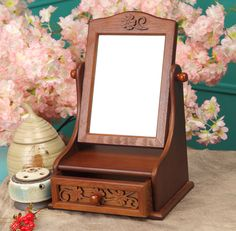 Very Small Portable Makeup Table With Drawer And Folding Mirror Built In Ideas, Makeup Vanity Table Furniture Vintage Makeup Vanities, Makeup Table Vanity, Wood Vanity, Driftwood Lamp, Wood Carving Designs, Dressing Mirror, Diy Home Crafts, Diy Wood Projects, Woodworking Crafts