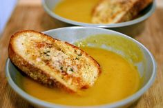 winter squash soup with gruyere croutons--I LIKE IT!!