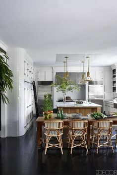 Black and white kitchen with natural accents