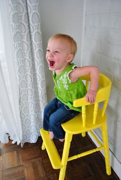 cutest big kid chair ever - old highchair painted with glossy paint