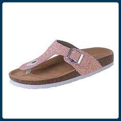 Azbro Women's Clip Toe Rhinestone Buckle Strap Flat Heels Slippers, Pink EURO39/US8/UK6 - Slipper und mokassins für frauen (*Partner-Link)