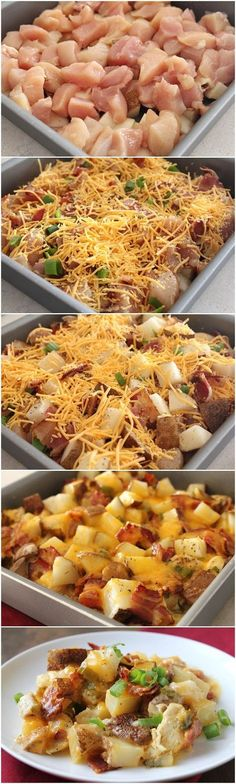 3 - 4 russet potatoes,diced 1 lb. boneless, skinless chicken breasts, diced 4 slices bacon,cooked,crumbled 1 1/2 c shredded cheddar 4 green onions, diced 1/2 t salt 1/2 t black pepper 1/2 c heavy cream 2 T unsalted butter, small pieces