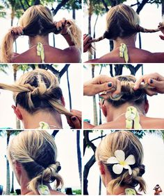 """1. Divide hair into 2 sections.    2. Twist each section outwards, creating two """"ropes""""    3. Tie the """"ropes"""" in a knot just like you would when you start to tie your shoes.    4. Repeat and tie once again in a knot. Donezo!    5. If you want, pin in place.    6. Pick plumeria off a tree and stik in there for added style points."""