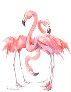 Two Flamingos Original watercolor painting 16 x 12 by ORIGINALONLY