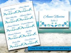 Seashell Beach Wedding Place Cards Word Template | Blue Lagoon Teal Turquoise | Download Wedding Table Cards | Place Setting Escort Cards by PaintTheDayDesigns, $10.00