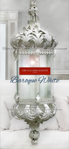 Baroque White Lantern  Baroque lantern collection in white tempera, by GBS. For outdoor use or for home decor. Custom-made, with coordinated colours. Hand-decorated wrought iron. Made in Italy