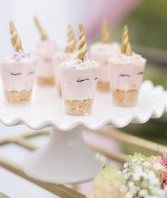 """Pudding cups Crazy Parties (@crazyparties_) on Instagram: """"Unicorn cheesecakes... @pippapollycakery #unicornparty #pastelparty #kidspartyset #customparty…"""""""