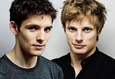 Merlin and Arthur! - aka Colin Morgan and Bradley James. I think I'm going to have to write a romance novel featuring these two each having their own romance but maintaining a close male friendship.