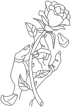 An aura of mystery and awe surrounds this charming rose and hand design. - Hand Nail Design FoR Women Drawings To Trace, Pencil Art Drawings, Cool Art Drawings, Art Drawings Sketches, Easy Drawings, Horse Drawings, Drawing Art, Skull Coloring Pages, Colouring