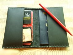 Handmade TWO POCKET Black Leather Passport by CSherwoodLeather