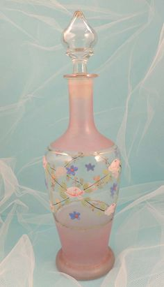French Hand Painted Floral Glass Cologne Perfume Bottle Decanter.