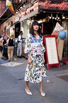 Tibi dress, Yuliya Magdych top, La Ligne striped shirt around waist, Rachel Comey shoes