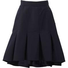 Oscar De La Renta High-low Trumpet Skirt (4.485 BRL) ❤ liked on Polyvore featuring skirts, hi low skirt, high low maxi skirt, long navy skirt, hi lo skirt and long trumpet skirt