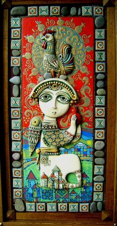 Art by Tsolak Shahinyan. Clay Tiles, Ceramic Clay, Clay Wall Art, Mosaic Tile Art, Arte Popular, Polymer Clay Art, Mural Art, Collages, Folk Art