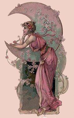 Art Nouveau Postcard Woman with Moon 1903