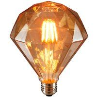 Sunlite FDIAM/LED/AQ/6W/DIM/22K Vintage BR40 Diamond 6W LED Antique Filament Style Light Bulb 2200K Medium E26 Base 65W Incandescent Replacement Lamp, Warm White