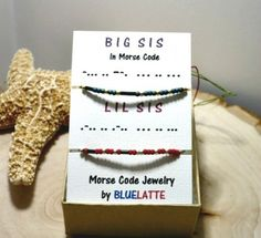 Set of 2 Little Sis and Big Sis Morse code bracelet The bracelet are Morse code that have custom secret messages. is the perfect gift for sisters!  It features a round seed beads and tube seed beads h