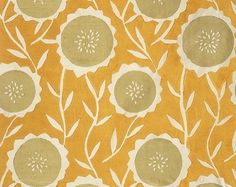 Sunflower Fabric contemporary fabric.    Very nice abstract sunflower print with a kind of Mid-Century feel.