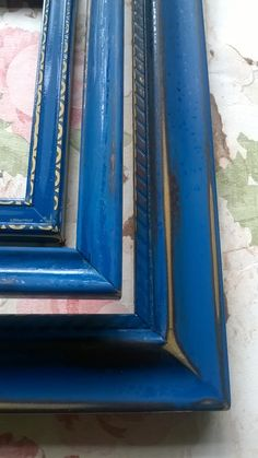 Upcycled Vintage Shabby Chic Picture Frames x 3 *Glass included* Blue/Black Lot Art - Gallery Wall Wall Decoration. by KaylasFindsAndMakes on Etsy