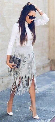 White Jersey, Gray Fringe Midi Skirt, White Heels  A Keene Sense Of Style