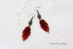 Origami Jewelry  Japanese Origami Leaf Earrings with Antique