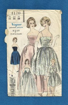 1960 Vogue 4170 Strapless Evening Bubble Dress and by MrsWooster, $65.00