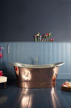 The Marseille Copper Bateau Bath with Tin Inner | Copper Bateau Bath
