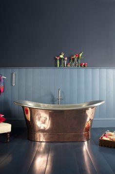 The Marseille Copper Bateau Bath with Tin Inner   Copper Bateau Bath