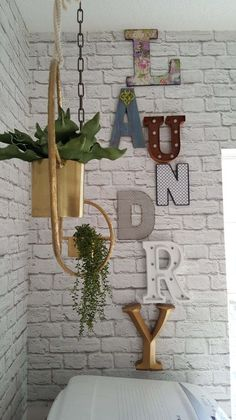 Beesnburlap One Room Challenge Urban Industrial Vintage Glam Laundry Room Reveal Makeover DIY Wall Decor Letters Boho Planters