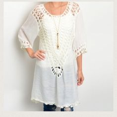 "BEACH READY CROCHET TUNIC White tunic w crochet detail along front and back as well as in sleeves. Right down to the adorable detail along the hemline!  Wear a tank under this one!  55% polyester 45% acrylic. Small measures L37"" B48"" W44"" S (2) M (2) L (2) Please comment size needed below.  PLEASE DO NOT BUY THIS LISTING. Allow me to make your separate listing for you or help you make a bundle ❤️.  NO PAYPAL NO TRADES. Due to Poshmark's commission, price is FIRM unless bundled. All sales…"