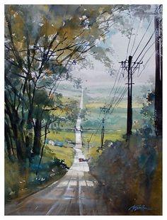 fairmount road - ohio   thomas w schaller - watercolor   24 x 18 inches