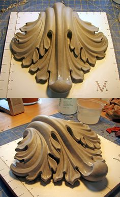 Plaster Art, Wood Carving Designs, Pattern And Decoration, Wall Molding, Art Carved, Wood Stone, Wooden Crates, Woodworking Furniture, Ceramic Clay