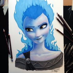 Elsa/Hades Crossover Pencil Drawing by AtomiccircuS on deviantART