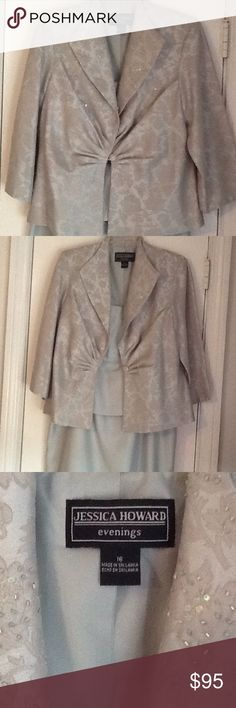 Formal Gown Pastel sage green evening gown/mother of the bride gown with spaghetti strap long dress and matching brocade jacket with sequins and roused bodice jacket. Worn twice. Jessica Howard Dresses Wedding
