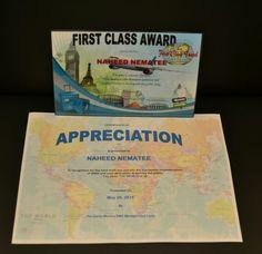 Appreciation Certificate & First Class Award