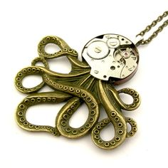 Cephalopod Pendant - The Brainiacs Steampunk Octopus Necklace (vintage mechanical watch movement) Gifts For Father, Mother Gifts, Photo Tent, Octopus Jewelry, Steampunk Octopus, Wedding Gifts For Bridesmaids, Mechanical Watch, Groomsman Gifts, Valentine Gifts