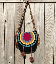 Colorful Crochet Bags with Cover - Crossbody/Shoulder Bags - Style MWU – Colorful Unique Crochet, Crochet Round, Hand Crochet, Crochet Handbags, Crochet Bags, Crochet Purses, Crochet Shell Stitch, Crossbody Shoulder Bag, Shoulder Bags