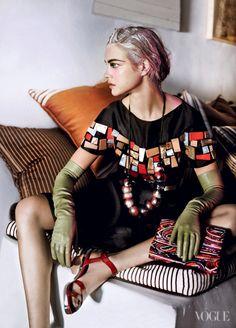 Natalia Vodianova  Hair: Julien d'YsFashion Editor: Tonne Goodman  Photographed by Steven Klein, Vogue, March 2012