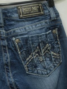 Miss Me womens jeans distressed embroidered back pocket Bootcut Stretch size 26 | eBay