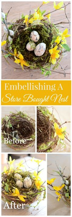 Easy and pretty spring diy. Use a plain store bought nest to emblellish and create a one of a kind spring decor for you home. Bird Cages, Bird Nests, Easter Crafts, Easter Ideas, Easter Decor, Hoppy Easter, Spring Home, Summer Wreath, Spring Crafts