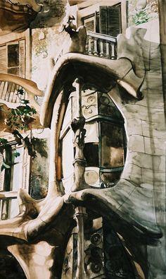 Watercolor Paul Dmoch Casa Batlló
