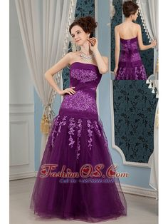 Cheap Elegant Purple Prom Dress Column Strapless Embroidery Floor-length Tulle  http://www.fashionos.com  This purple strapless prom gown is sexy and feminine. A gorgeous prom gown in purple accented with exquisitely embroidered flowers on the sheer corset bodice. The floral skirt is full and elegant, and covered by organza fabric. Lace up back completes the look. If you're looking for a purple dress for prom that will steal the spotlight this modesty strapless gown is the perfect choice.
