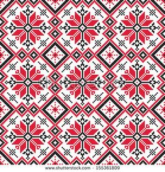 seamless embroidered good like handmade cross-stitch ethnic Ukraine pattern - stock vector Cross Stitch Borders, Cross Stitch Flowers, Cross Stitch Charts, Cross Stitch Designs, Cross Stitching, Cross Stitch Patterns, Hungarian Embroidery, Folk Embroidery, Cross Stitch Embroidery